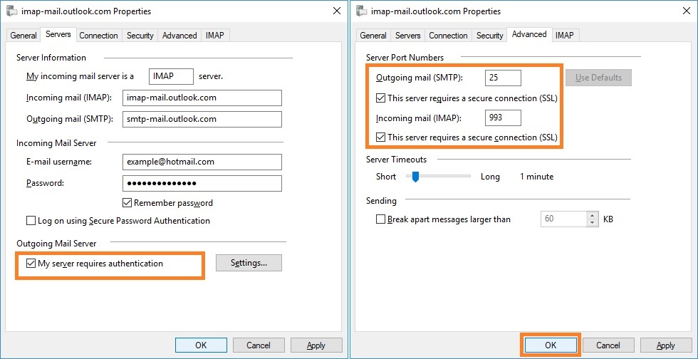Configure with Hotmail (IMAP)
