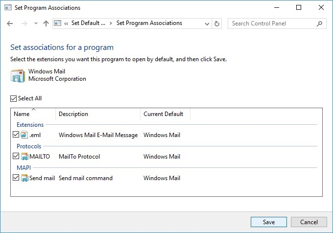 Windows Mail Associations