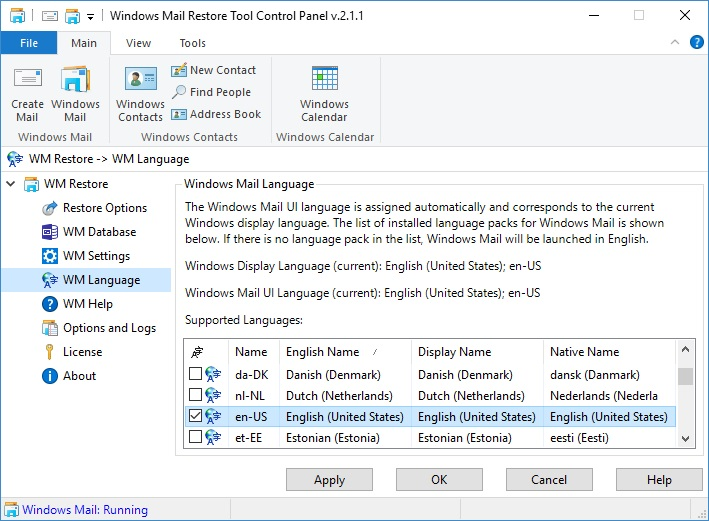 Windows Mail Language