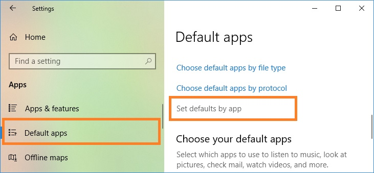 Set defaults by app