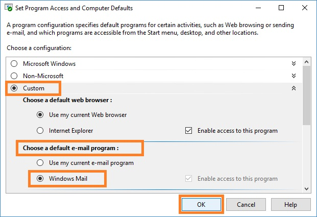 Choose a default e‑mail program